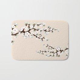 Japanese Sakura Cherry Blossoms (ivory/white) Bath Mat