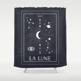 The Moon or La Lune Tarot Shower Curtain
