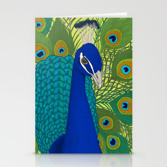 Peacock in Colour Stationery Cards