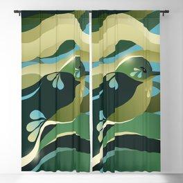 Humming Bird In Green Colors/ Bird Illustration/ Teal Sky Blackout Curtain