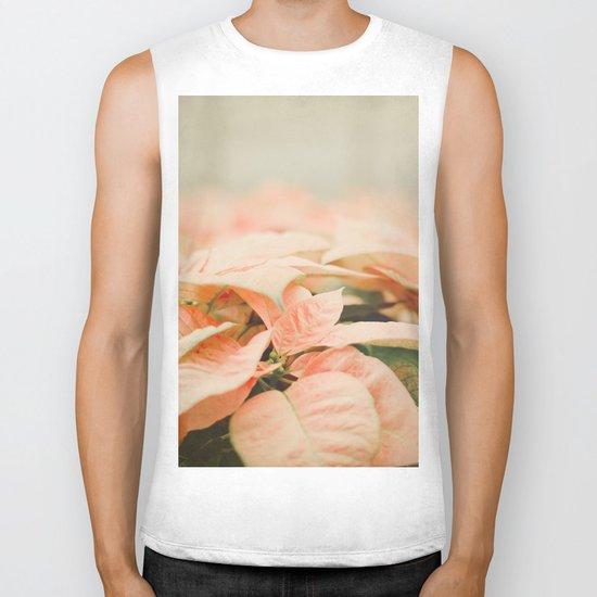 Peach Poinsettias  Biker Tank