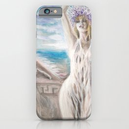 Abanthis playing lyre for Gongyla on the isle of lesbos painting iPhone Case