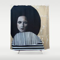 musa Shower Curtains featuring MUSA by Michela Ezekiela Riba