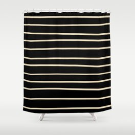 Valspar America Wood Yellow - Homey Cream - Glow Home Hand Drawn Horizontal Stripes on Black Shower Curtain