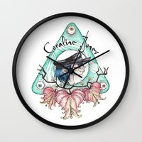 coraline Wall Clocks featuring Coraline Jones by Alizia Vence