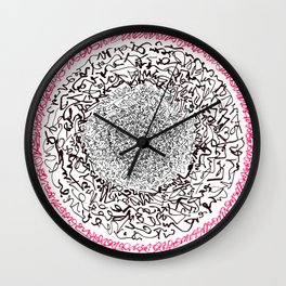 A Pink Result of the Dance, asemic calligraphy for home decoration Wall Clock