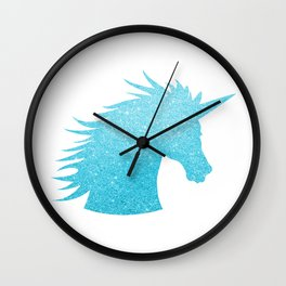 Blue Glitter Unicorn Wall Clock