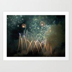 Fireworks Face Art Print