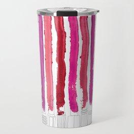 Lipstick Stripes - Floral Fuschia Red Travel Mug