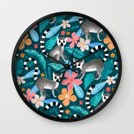 Gouache Lemur Land Wall Clock