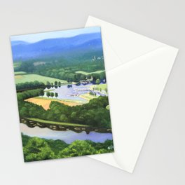 Fine Art Print of a View of the Oxbow in Northampton, Massachusetts from Mount Tom in East Stationery Cards