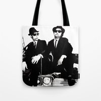 blues brothers Tote Bags featuring Blues Brothers by DmDan