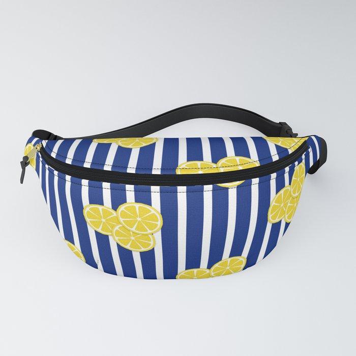 Lemon Slices on Navy Stripes Fanny Pack