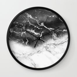 Modern black and white marble ombre watercolor color block Wall Clock