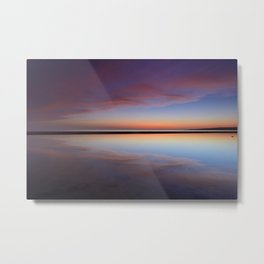 Purple sunset at the beach. Tarifa beach Metal Print