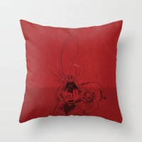 evil Throw Pillows featuring Evil by Stacy Nguyen