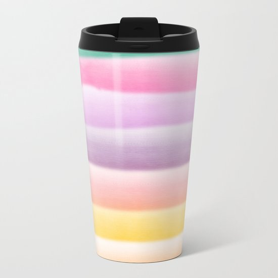 Modern hand painted multi color summer watercolor stripes pattern Metal Travel Mug