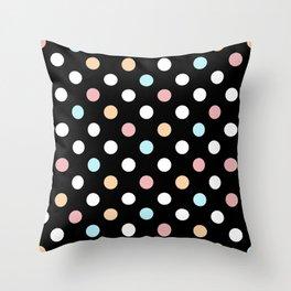 Black & Pastel Dots Throw Pillow