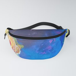 Mad Lucy's Golden Roses. Yellow Roses and Galaxy Blue. Fanny Pack