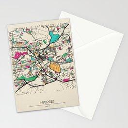 Colorful City Maps: Nairobi, Kenya Stationery Cards