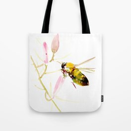 Bee and Pink Flowers Tote Bag