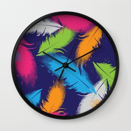 Bright Falling Feathers Wall Clock