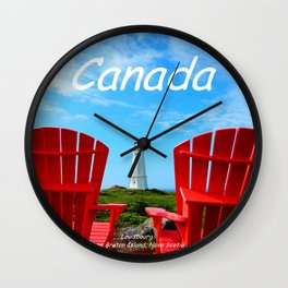 Chairs and Lighthouse, Canada Wall Clock