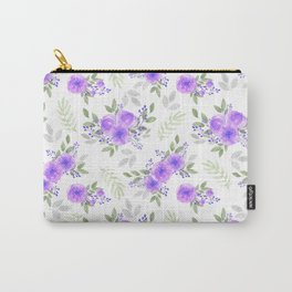 Hand painted violet lilac green watercolor peonies floral Carry-All Pouch