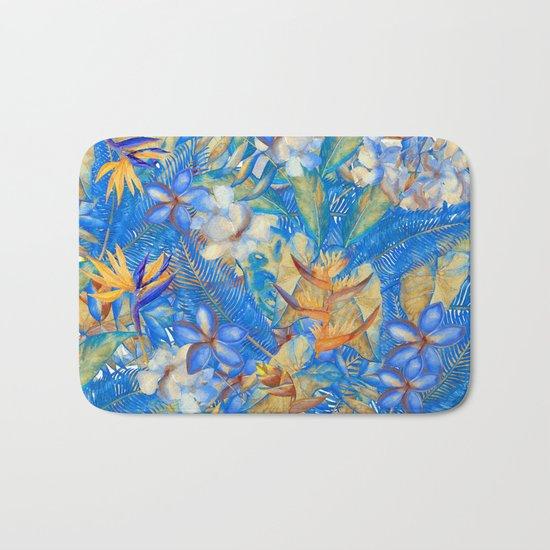 My Blue Aloha Tropical Flower Hibiscus Garden on #Society6 Bath Mat
