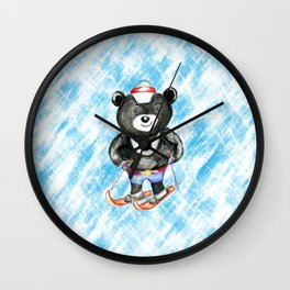 Bear on ski Wall Clock