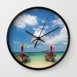 Long tail boats on the beach in Thailand Wall Clock