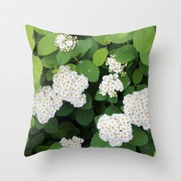 Spirea Flowering Bush Throw Pillow