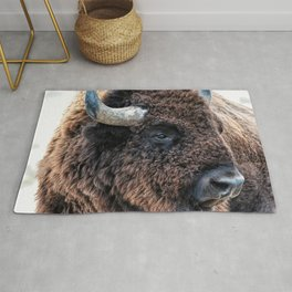 Buffalo the Mighty Beast - In The Presence Of Bison by OLena Art Rug