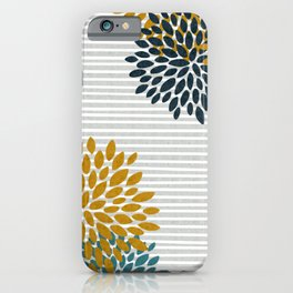 Floral Blooms and Stripes, Navy Blue, Teal, Yellow, Gray iPhone Case