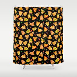 Watercolor Pizza Pattern Fast Food On Black Shower Curtain