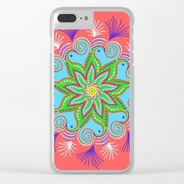 Vibrant Vermillion Mandala Clear iPhone Case