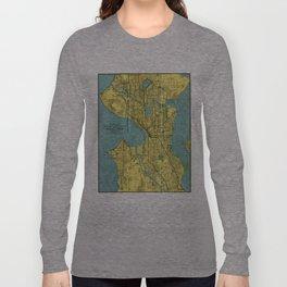 Vintage Map of Seattle Washington (1914) Long Sleeve T-shirt