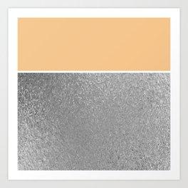 Color Brite: Peach + Silver Art Print