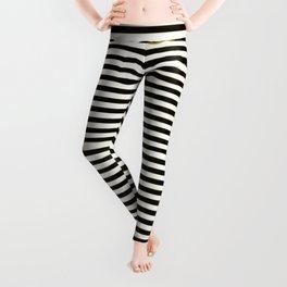 Thin alternating gold black and white art deco stripes Leggings