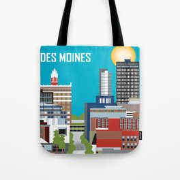 Des Moines, Iowa - Skyline Illustration by Loose Petals Tote Bag