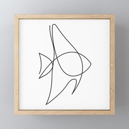 one line fish - aquatic fella Framed Mini Art Print