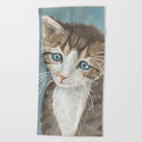Kitten, watercolor potrait Beach Towel