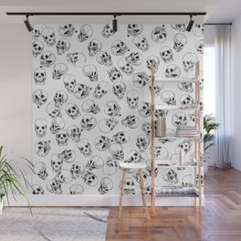 A Lot of Skulls White Wall Mural