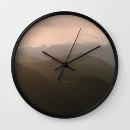 Alps Mountain Layers at Warm and Peaceful Sunrise – Landscape Photography Wall Clock