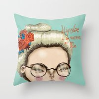 hipster Throw Pillows featuring Hipster by Maripili