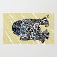 r2d2 Area & Throw Rugs featuring R2D2 by Rebecca Bear