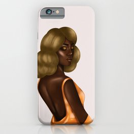 Beautiful Black Lady in Gold Dress iPhone Case