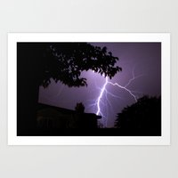 lightning Art Prints featuring Lightning by Jayrosco