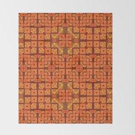 Lush Vibrant Orange Geometric Glow Quilt Print Throw Blanket