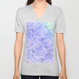 1970's Style Waves And Clouds Drawing Unisex V-Neck